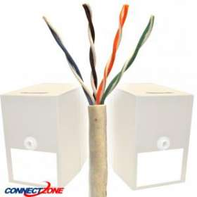 1000 Feet Cat6 550MHz Bulk Solid Wire Beige PVC CMR Rated Ethernet Bulk Cable