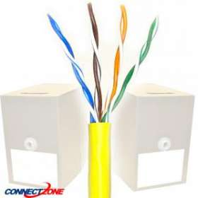 1000 Feet Cat6 550MHz Bulk Stranded Wire Yellow PVC CMR Rated