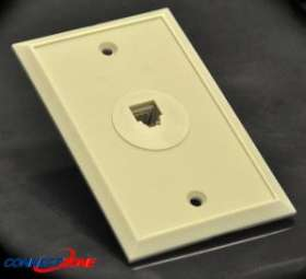 Ivory flush mount rj11 jack telephone wall faceplate